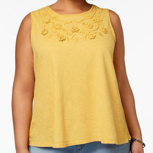Style & Co Plus Size Embellished Swing Tank Golden